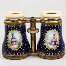 LG Antique French Kiln-fired Enamel Opera Glasses, Binoculars, Cobalt, Figural