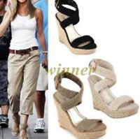New Women's Sandals Wedge High Heels Roman Ankle Cross Strap Espadrilles Shoes