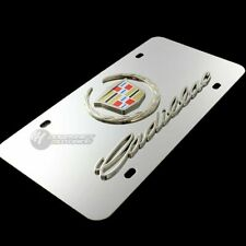 3D For CADILLAC Wreath Logo Front Mirror Stainless Steel License Plate Frame