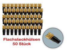 Flachsteckhülsen Flachstecker Lautsprecher 6,3mm vergoldet isoliert 50 Stück