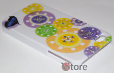 Cover Caso Para APPLE iPhone 4/4G/4S Brillantes Mariposa y círculos + Película