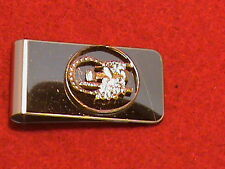 Hand cut Indiana state quarter 24 kt gold plated mounted as a money clip