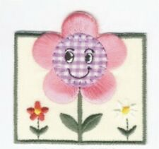Country Pink Smiling Flower Embroidery Patch