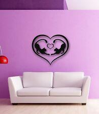 Wall Stickers Vinyl Decal Romantic Love Heart Cat Animal (ig487)