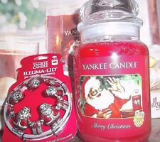 Yankee Candle Merry Christmas 22oz Collector Edition & Santa Illuma lid Single.