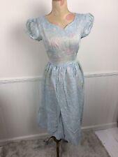 Vintage Ladies' Blue Sheer Flocked Organdy Short Sleeve Dress