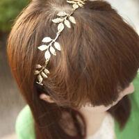 Vintage Woman Girls Elastic Golden Headwear Hair Band Hair Accessories Leaf