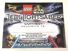Unused Star Wars Lego Lightsaber Building Certificate -  Extremely RARE