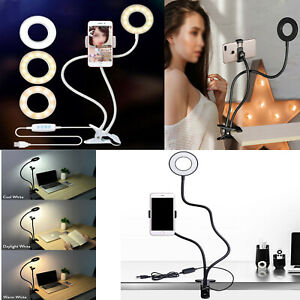 24 LED Selfie Ring Light With Stand Phone Holder for Live Stream Makeup LED Lamp
