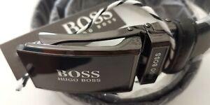 Hugo Boss Schwarz Automatik Herrengürtel Leder 110cm kürzbar NEU mit Etikett.