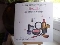 Handmade Personalised Make Up Birthday Card Female Girl Daughter Friend Niece