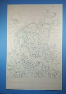 101 Dalmatians Dave Manak Disney's Enchanting Stories Original Pencil Art Splash