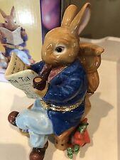 Bunny Rabbit Figurine Porcelain Trinket Box