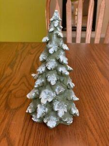 ceramic green CHRISTMAS TREE FIGURINE decoration white glitter snow