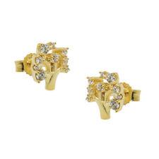 Pendientes, Árbol Con Blanca Circonia, 375 Oro Amarillo