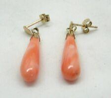 Vintage 9 carat Gold Coral Dropper Earrings