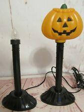 Vintage Plastic Blow Mold Halloween Jack o Lantern Pumpkin Candle Lamp Light