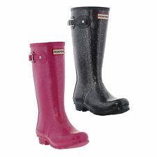 Hunter Original Kids Pink Glitter Rubber Wellington Rain Boots Size UK 13-5