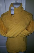 ~*WARM & COMFY*~NWT RALPH LAUREN CABLE KNIT LARGE WOMENS TURTLE NECK yellow