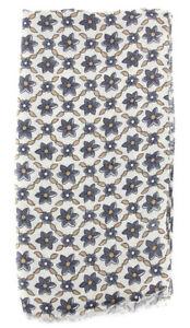 """New $400 Luigi Borrelli Beige Floral Long Scarf - 26"""" x 76"""" - (FI120301)"""
