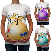 Lady Maternity Cute Funny Pattern Blouse Short Sleeve T-Shirt Pregnant Tops Tee