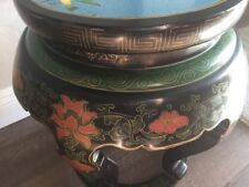 Antique Blue CLOISONNÉ Lacquer Garden Stool/Bench/Side Table EARLY 20th Century