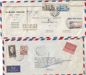 SS4719 Syria 11 different stamped registered covers;  UK Europe USA  1951 - 1982