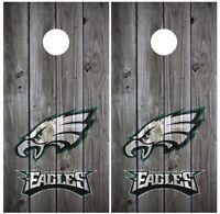 Philadelphia Eagles Vintage Wood Cornhole Board Decal Wrap Wraps (grey)