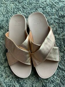 FitFlop Rose Gold Lulu Cross Glitz Slide Comfort Sandal 7 38 Sale