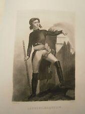 Gravure 19°  Portrait  personnage révolution :Larochejacquelin