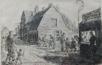 Etching Original Print  Dennis Higgins Old Leigh on Sea Osborne Bros shop Essex