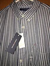 ****NWT BRAND NEW LG TOMMY HILFIGER SPORT Dress Shirt Polo Blue&White Long Slv