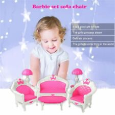 6Pcs Toys For Barbie Doll Sofa Chair Couch Desk Lamp Furniture Set Disassembled
