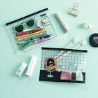Clear Pencil Pen Case Bag Cosmetic Pouch Makeup Storage Zipper Holder Plastic