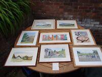 Ben Kerwood Original Watercolour Paintings Collection of 8 Art Pieces Job Lot