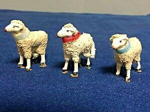 alte Krippenfiguren aus dem Erzgebirge 3 Schafe 5 cm.
