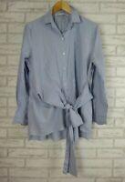 ZARA Shirt/Blouse Sz L, 14 Blue, White stripe, Blue embroider print