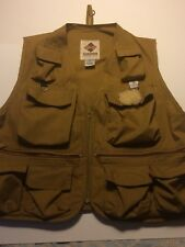 Vintage Columbia Fly Fishing Vest  ~ Adult Large L Khaki ~ Made in USA