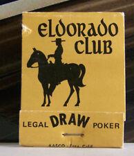 Rare Vintage Matchbook El Dorado Club Cowboy Horse Gardena California Poker Draw
