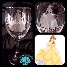 Personalised Disney Princess Belle Wine Glass Gift Handmade & Free Name Engraved