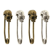 4x Novelty Design Skull Head Shaped Safety Pins DIY Jewelry Making Brooches