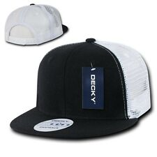 Solid Blank Plain Mesh Flat Bill Snapback 6 Panel Trucker Baseball Ball Cap Hat
