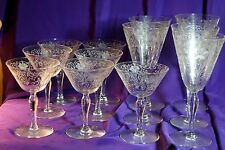 FOSTORIA WOODLAND ETCHED 5 WATER GOBLETS & 7 CHAMPAGNE