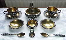 Russian Solid Silver Gilt & Cloisonne Enamel Complete Tea Set, Soviet Era