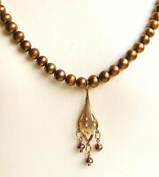 "VINTAGE DECO COPPER CULTURED PEARL PENDANT LAYERING NECKLACE ADJ. 17""  18""  20"""