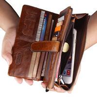 Men's Vintage Genuine Leather Long Bifold Wallet ID Card Holder Checkbook Purse
