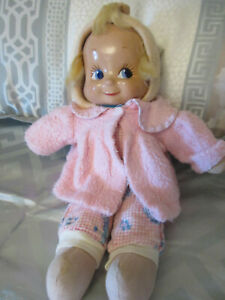 """Vintage TRUDY  3 Face Doll by Elsie Gilbert ~ 14"""" Composition Face, Cloth Body"""