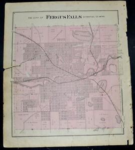 1884 OTTER TAIL COUNTY MAP  MINNESOTA City of Fergus Falls