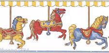 Carousel Merry Go Round Horse Kid Nursery Cream Wallpaper Border BIG ROLL 48FT