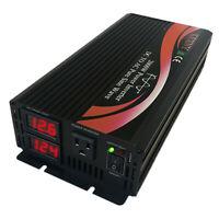 US 1000W 2000W Power Inverter Pure Sine Wave 12V 24V DC to 110V AC for RV/Solar